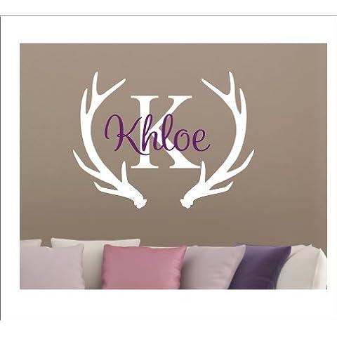 Lettera iniziale del nome con testa di cervo da parete, Adesivi da parete per la camera dei bambini, rimovibile, motivo: