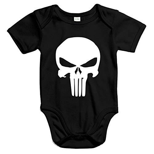 FABTEE - The Punisher - Baby Kurzarm Body für Jungen und Mädchen in Verschiedenen Farben von Größen 0-18 Monate, Farbe:Schwarz, Größe:12-18 Monate