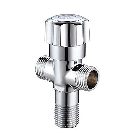 Sieyes Laiton massif Valve, Bras de douche de salle de bain douche Système T-valve composant universel, pièce de rechange pour douchette et douchette fixe, 1/5,1cm X1/5,1cm X1/5,1cm Filetage mâle, Chrome poli