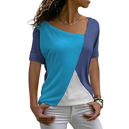 ZJCTUO Damen T-Shirts Sommer Casual Patchwork Farbblock Kurzarm Asymmetrischer V-Ausschnitt Top Bluse Oberteil -