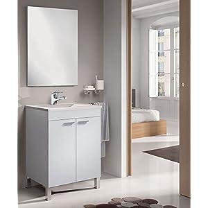 Mueble Baño 60CM con Grifo + Espejo + Lavabo, Mod Denise (latiguillos Incluidos)