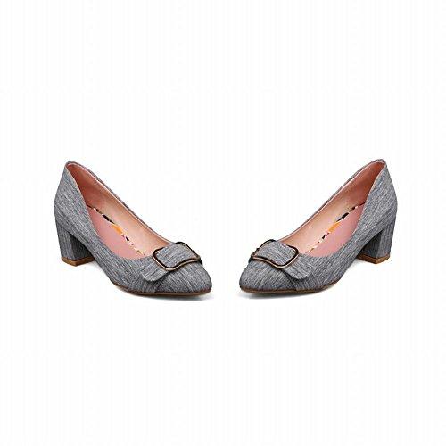 Mee Shoes Damen chunky heels runde Geschlossen Pumps Grau