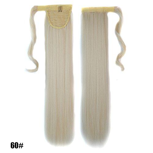 60cm Glatt Lang Platinblond 60# Clip in Hair Extensions Haarverlängerung Haarteil Wrap Around Pferdeschwanz Zopf Ponytail