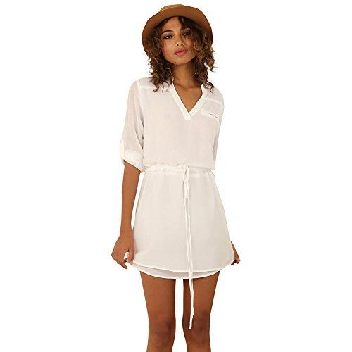 Eliacher Tiefe Blouson-Shirt-Kleid in Weiß (Mädchen Für Rock Ages Of Kostüme)