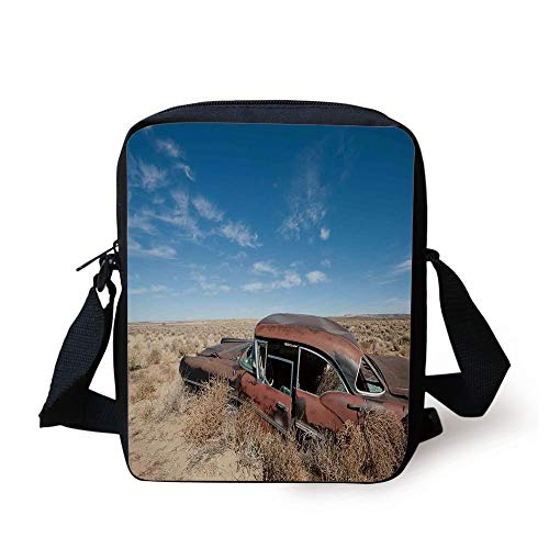Cars,Old Rusty Automobile in The Middle of New Mexico Bushes Ghost Town Vehicle Theme Print,Tan Blue Print Kids Crossbody Messenger Bag Purse