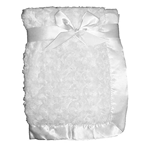 Supersoft White Luxurious Swirl Plush Satin Edged Baby Pram/Crib Blanket - Suitable For Baby