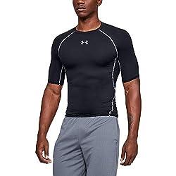 Under Armour UA HG Armour SS Camiseta, Hombre, Negro (Black/Steel 001), L