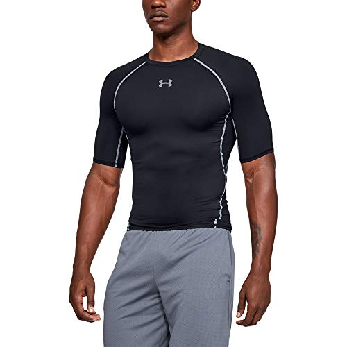 Under Armour UA HG Armour SS Camiseta, Hombre, Negro (Black/Steel 001), L
