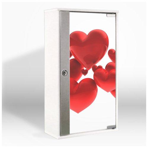 #Medizinschrank mit Glastür und Motiv: Fliegende Herzen#
