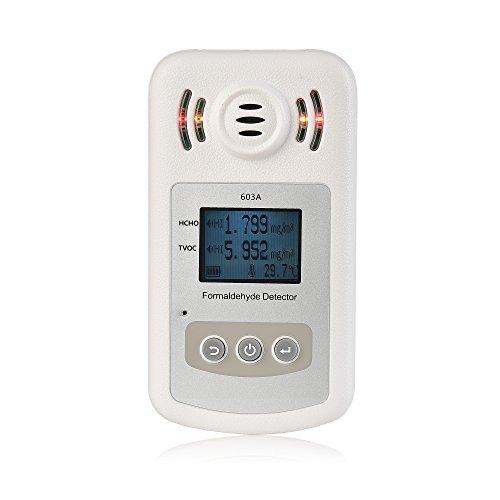 Rilevatore di qualità dell\' aria per interni–Qooarker accurati test formaldeide (Hcho) Monitor anche pm2.5/PM10test misuratore di qualità dell\' aria con visualizzazione del tempo per esterni auto rilevamento Outdoor rilevazione