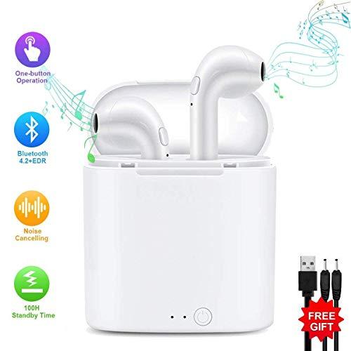 Peloo Auriculares in-ear inalámbricos Bluetooth, Bluetooth 4.2 Manos libres Bluetooth Auriculares inalambricos para iPhone X/8/7/7 Plus/6/6S Plus y Android Smartphones,Mini Bluetooth con Estuche de Carga, Cancelación de Ruido, Micrófono Incorporado[UPDRADE]