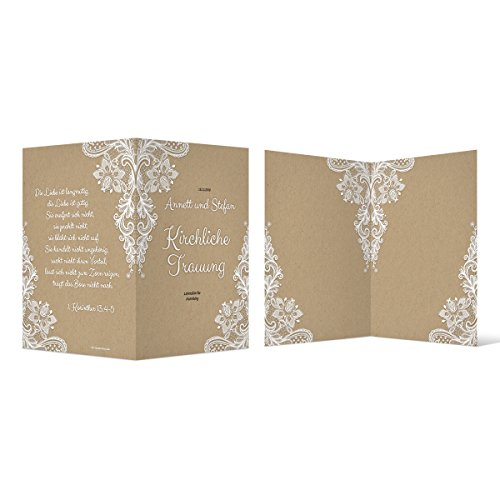 40 x Kirchenheft Hochzeit individuell Klappkarte - Rustikal Kraftpapier Look