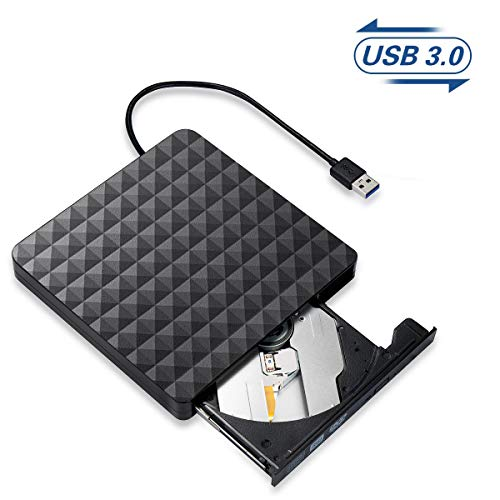 Externe CD DVD Laufwerk,USB 3.0 Tragbar CD/DVD/ROM Optische Laufwerke Spieler,Highspeed Datentransfer Brenner Recorder für Laptops,Desktops,PC,Computer Kompatibel mit Windows 10/8/7/Linux/Mac OS