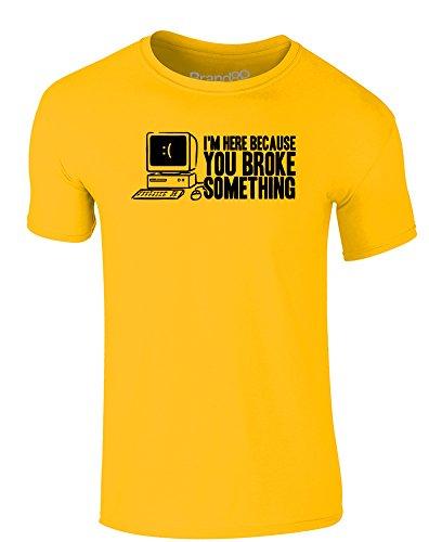 Brand88 - Broke Something, Erwachsene Gedrucktes T-Shirt Gänseblümchen-Gelb/Schwarz