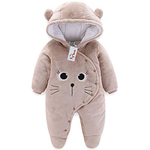 Baby Winter Fleece Overall Mit Kapuze Mädchen Jungen Schneeanzüge Warm Strampler Outfits Khaki 9-12 Monate