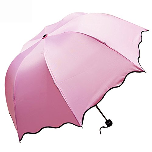 LONGQI Travel Umbrella Folding Anti UV Rain Sun Portable Long Umbrella with 8 Ribs