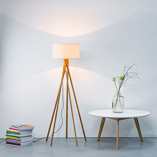 Moderna Lámpara pie tela estructura madera, 1x