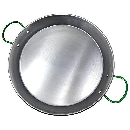 MGE - Paellera - Asas en Verde - Acero Pulido - Inducción/Vitro - Ø 34 cm - Hecho en España