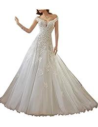XUYUDITA Mujer de encaje de encaje vestido de novia vestido de novia de tren de la