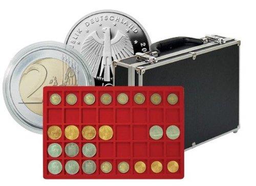 Lindner 2338-320 Grande valise numismatique de collection avec 8 plateaux pour 320 monnaies ou monnaies sous capsules jusqu'à 34 mm Ø