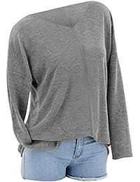 5ec4d1682289 TOOGOO Moda De Mujer Suéter De Punto Sólido De Manga Larga De V Cuello?Para