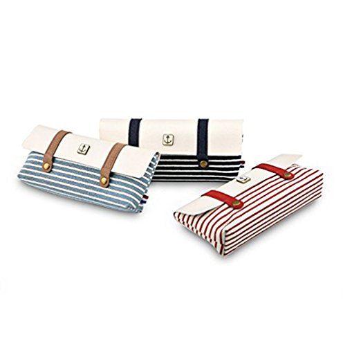 Creative Pencil Holder Vintage Navy Style Canvas pencil cases Sailor's Stripe Style Pattern Linen Retro Pencil Pouch Pencil Case (Red) (Canvas Stripe)