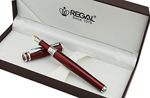 Erofa Regal rosa rosso penna stilografica Germania irdium dimensioni, tratto medio, con confezione regalo