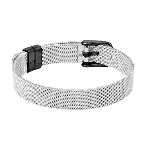 LUXERY Charm-Band Armband Damen, Edelstahl für Individuelle Anhänger Mesh Charms Edelstahl Frauen Silber Rose-Gold Silber-Schwarz