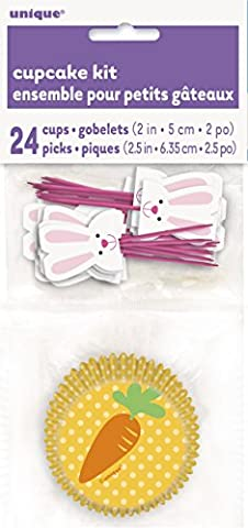 Bunny and Carrot Cupcake Cases and Cupcake Toppers Kit for 24