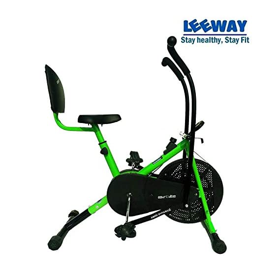 Leeway Air Bike with Back Support| Exercise Cycle| Moving Handle Gym Bike| Cardio Fitness Work Out| Cross fit Equipment| Dual Action Airbike with Back Rest -Green