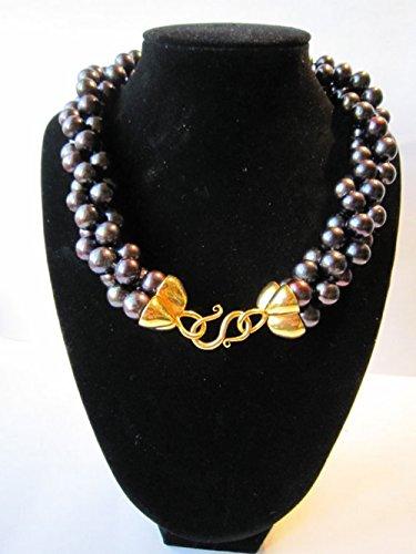 Elegante neue 10mm runde Süßwasser-schwarze Perlen-Halskette