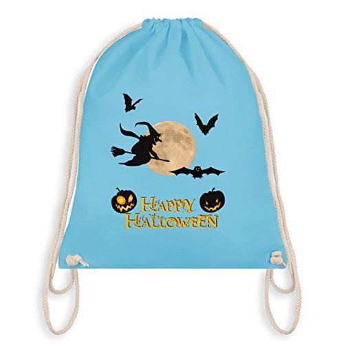 Halloween - Happy Halloween Mond Hexe - Unisize - Hellblau - WM110 - Angesagter Turnbeutel / Gym (Aller Kostüme Beliebte Zeiten Halloween)