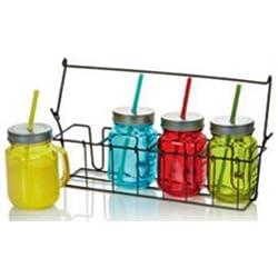 HDIUK Set von 4farbigen Jam Jar Drink Glas Mason Einmachgläser mit Trinkhalme in Carry Rack