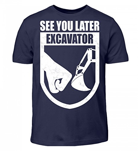 T-shirt Per Bambini Di Alta Qualità Shirtee - Escavatore Guida Per Escavatore Escavatore Guida Blu Scuro