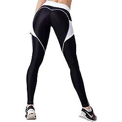 LaLaAreal Mujer Pantalon Deporte de Yoga Leggins Mallas Cintura Alta para fitness Running Fitness Gimnasio con Elastico y Transpirable