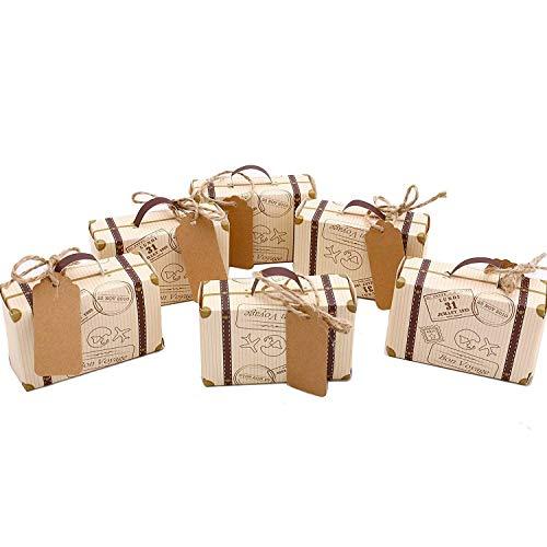 JVSISM Valise Mini 50Pcs Boite de Faveur Party Favor Bonbonniere, Vintage Papier Kraft avec des Etiquettes et de La Corde pour Le Mariage/Voyage Party Themed/Douche Nuptiale Decoration