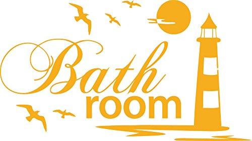 Graz Design Wandtattoo Badtattoo Bathroom mit Leuchtturm   Wand-Aufkleber für Dein Bad und WC   Tür-Schild Wellness-Aufkleber   auch für Spiegel – Fenster- Dusche geeignet