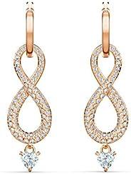 Swarovski Women's White Rose-gold tone plated Infinity Pierced Earrings 551
