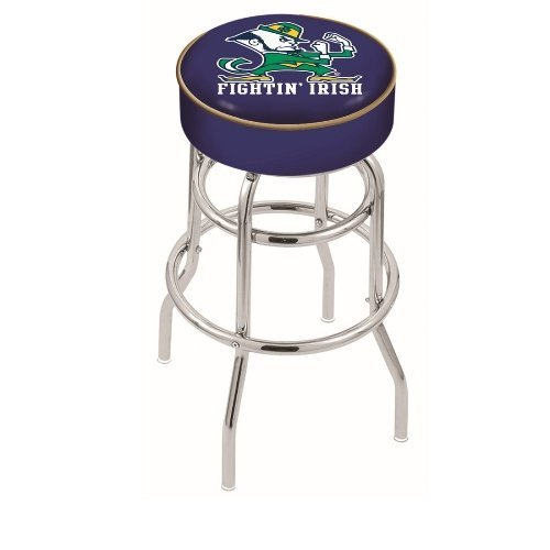 Holland Bar Stool 25 L7C1 - 4 Notre Dame (Leprechaun) Cushion Seat with Double-Ring Chrome Base Swivel Bar Stool by Holland Bar Stool - Chrome Base Ring
