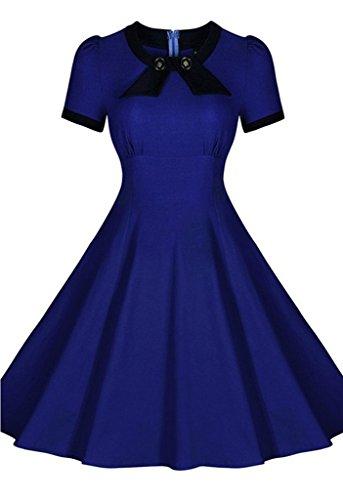 Bigood Robe Vintage Femme Manche Courte Robes de Soirée Mariage Cocktail Col Rond Casual Bleu Foncé