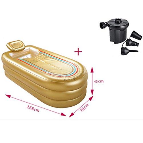 Aufblasbare Badewanne Verdickte Erwachsene Wanne Falten Bad Fässer Kunststoff Bad Fässer ( farbe : Earthly gold )