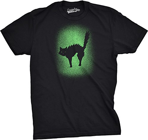 Kostüm Guy Katze - Crazy Dog Tshirts - Mens Glowing Cat Tshirt Glow In The Dark Cool Halloween Pet Lover Tee (Black) - XXL - Herren - XXL