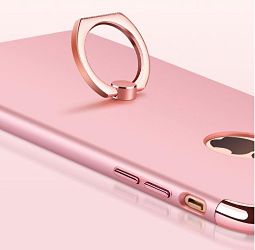 YESDA [Rotazione Grip Ring Kickstand] Case Custodia Cover con Supporto Dellanello Shock-Absorption Bumper e Anti-Scratch Clear Back per iPhone (iPhone 7Plus, nero) Oro