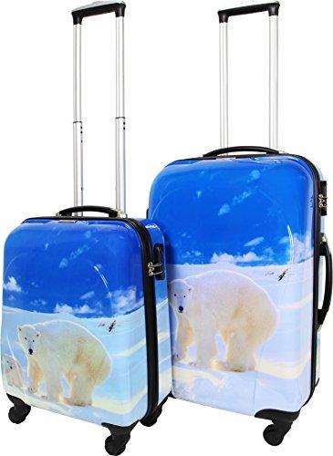 normani 2 teiliges ABS Hartschalen Koffer Set mit Teleskopgriff und Zahlenschloss Farbe Ice Bear