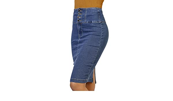 Infinie passion taille haute jupe crayon jean: amazon.fr