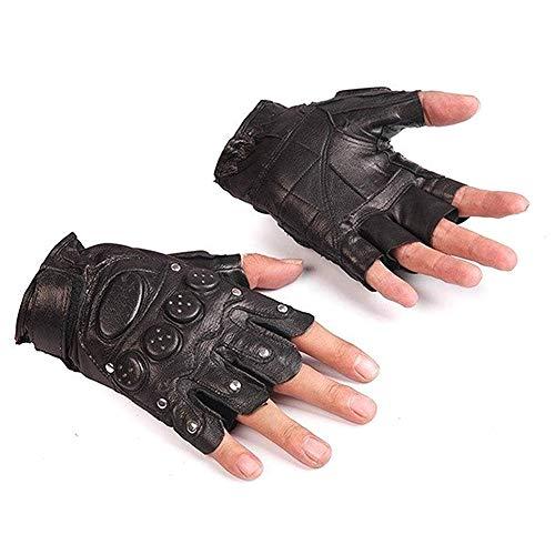 41Q9dGE%2BgGL. SS500  - CaCaCook Unisex Fingerless Gloves Leather Wrist Half Finger Glove Adult Fingerless Mittens
