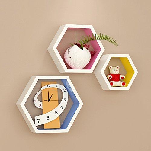 3 griglie esagonali mensole colorate, in legno, soggiorno tv parete decorativo montaggio a parete montaggio a parete (30 cm, 24 cm, 16 cm)