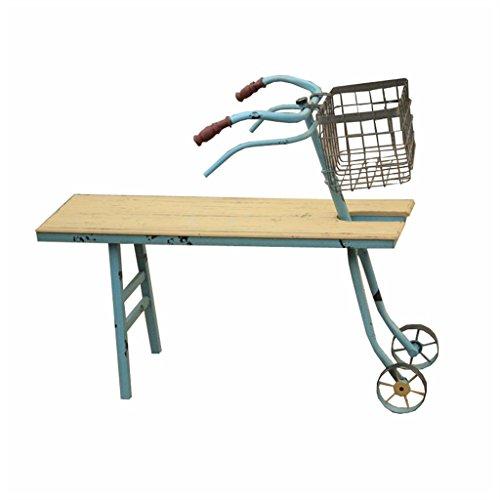 L-XYXY Fahrrad Halterung Blume stehend Metall Eisen und Holz stehend Pflanze Garten Terrasse Blumentopf Rack dekorative Anzeige Blumentopf Ständer für Indoor und Outdoor - blau - L75 * W23 * H63cm (Ständer Holz Blumentopf)