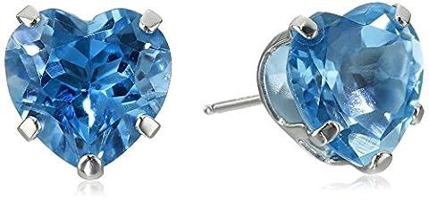 14k White Gold Swiss Blue Topaz Heart Stud Earrings