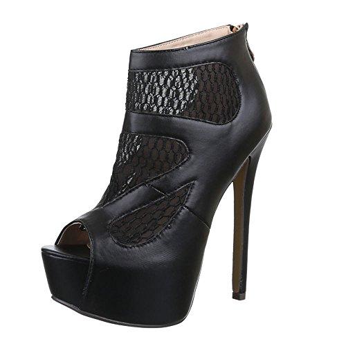 Damen Schuhe, QJ15347, Pumps, HIGH Heels Plateau Sandaletten, Synthetik in Hochwertiger Lederoptik, Schwarz, Gr 38 Sexy Strass Heels